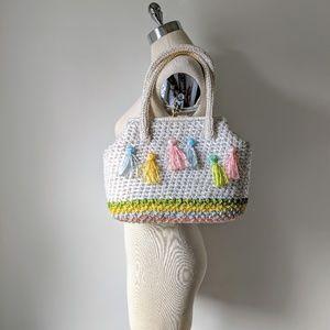 vintage 60's large woven pastel stripe handbag